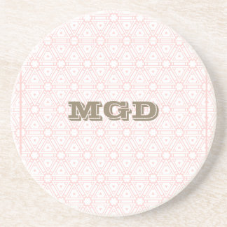 Pink lace all over pattern monogram coaster