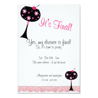 Pink Lace and a Big Drink Divorce Party Invitation