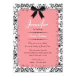 Pink Lace and Black & White Damask Sweet 16 5x7 5x7 Paper Invitation Card