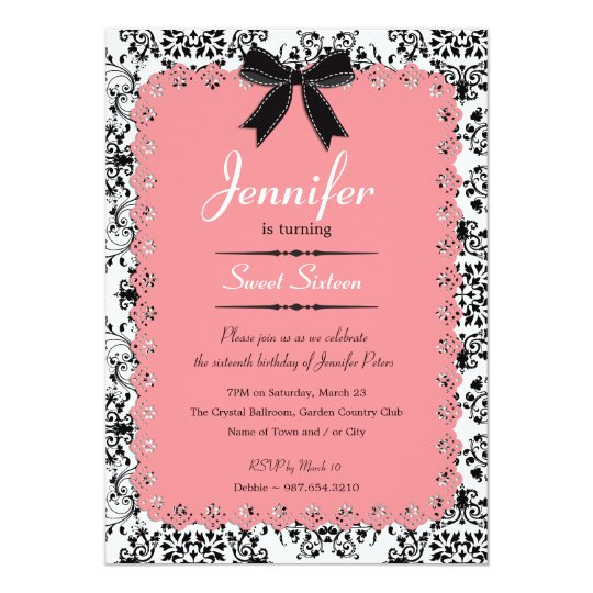 Pink Lace and Black & White Damask Sweet 16 5x7 Card