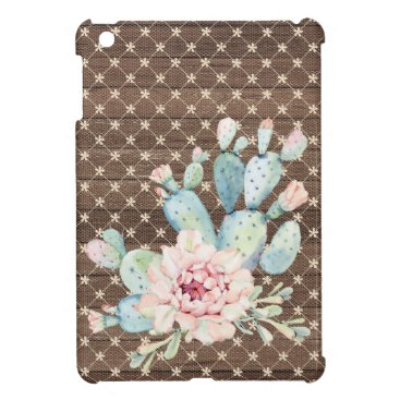 Pink Lace and Cactus Vintage Rustic iPad Mini Case