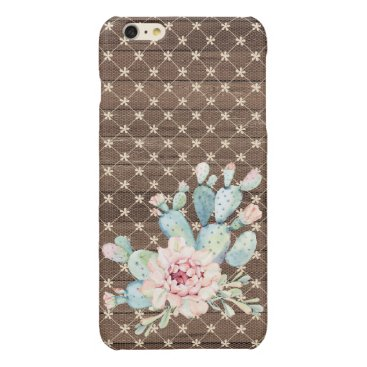 Pink Lace and Cactus Vintage Rustic Glossy iPhone 6 Plus Case