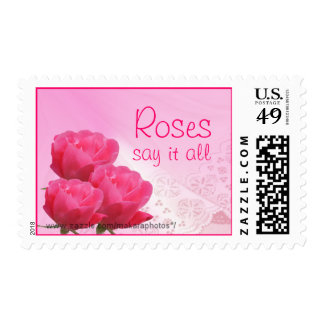 Pink Lace and Roses Postage Stamp -customize