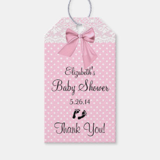 Pink Lace Baby Shower Guest Favor Thank You Gift Tags