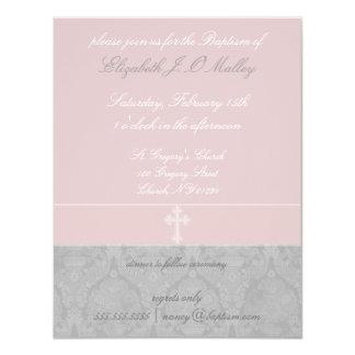 Pink Lace Baptism Invitations