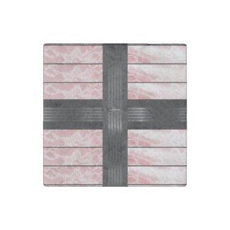Pink Lace Black Stripe Stone Magnet