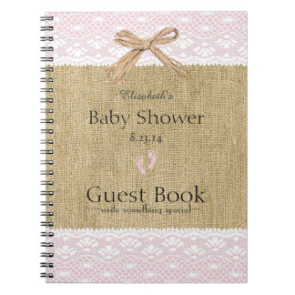 Pink Lace & Burlap Image - Baby Shower Guest Book- Notebook