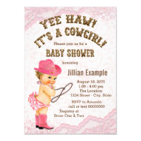 Pink Lace Cowgirl Baby Shower Card