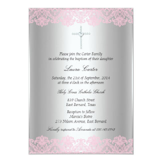 Pink Lace & Cross Baptism/Christening Invitation