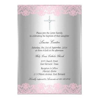 Pink Lace & Cross Baptism/Christening Invitation
