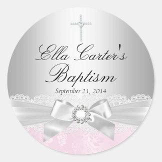 Pink Lace Cross Baptism Sticker Sticker