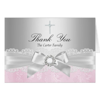 Pink Lace & Cross Baptism Thank You Card