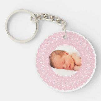Pink lace custom photo keychain