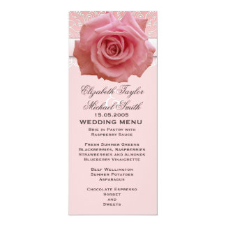 Pink Lace Damask Beauty Rose Wedding Menu Card