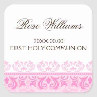 Pink lace damask first communion envelope seal square sticker