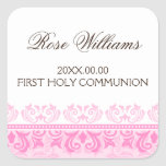 Pink lace damask first communion envelope seal square stickers