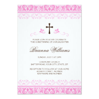 Pink lace damask girls baptism or christening card