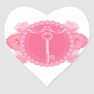Pink Lace Doily with Skeleton Key Heart Sticker