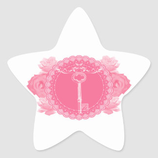 Pink Lace Doily with Skeleton Key Star Stickers