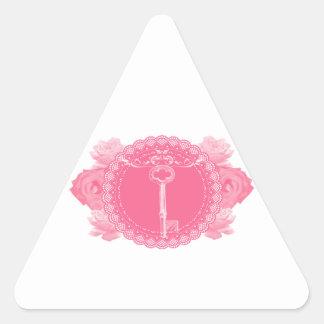 Pink Lace Doily with Skeleton Key Triangle Sticker