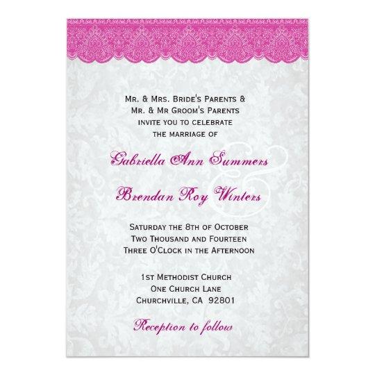 Pink Lace Elegant Monogram Wedding Card