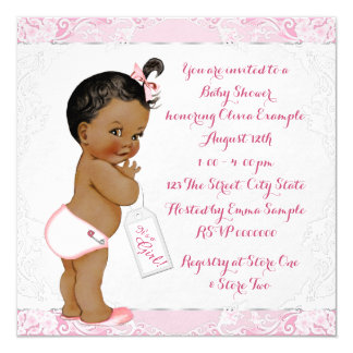 Pink Lace Ethinc Baby Girl Shower Card