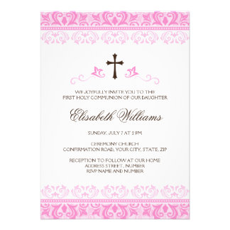 Pink lace girls first communion confirmation custom invite