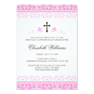 Pink lace girls first communion confirmation 5x7 paper invitation card