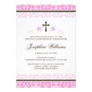 Pink lace girls first communion confirmation personalized invites