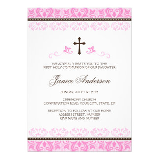 Pink lace girls first communion confirmation invitations
