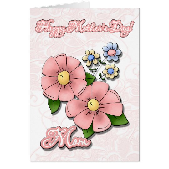 Pink Lace Happy Mother's Day Mom Flowers Card