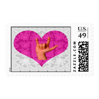 Pink Lace Heart  I Love You Postage Stamps