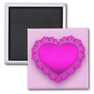 Pink Lace Heart Magnet