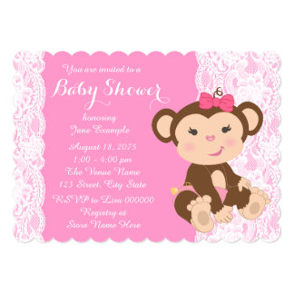 "Pink Lace Monkey Baby Girl Shower 5"" X 7"" Invitation Card"
