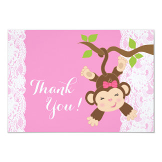 Pink Lace Monkey Baby Girl Thank You Card