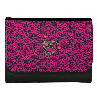 Pink Lace Music Treble Bass Clef Heart Wallet