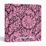 Pink lace on black 3 ring binder