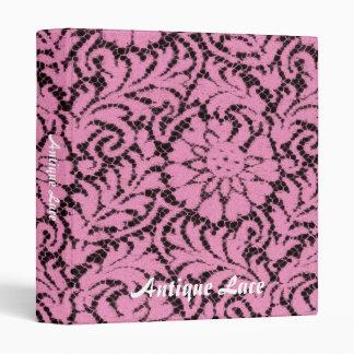 Pink lace on black binder