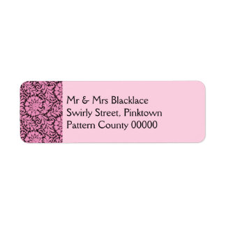 Pink lace on black return address labels