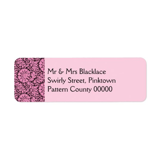 Pink lace on black label