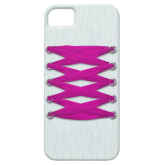 Pink Lace on White Satin iPhone 5 Case
