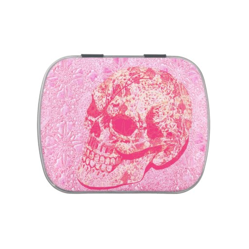pink lace painted sugar skull jelly belly candy tin