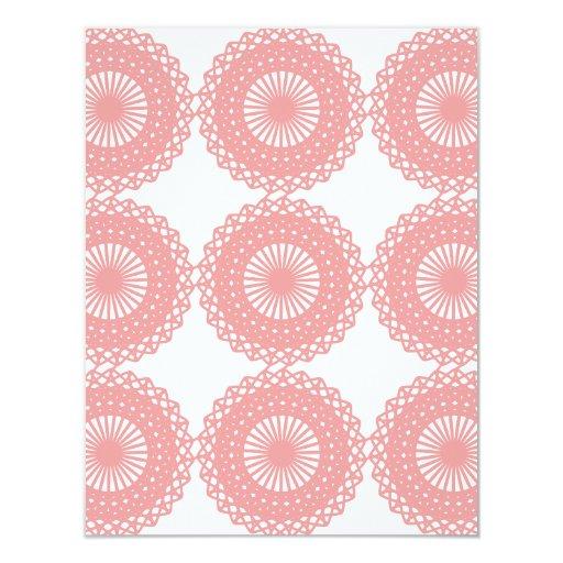 Pink Lace Pattern Design. 4.25x5.5 Paper Invitation Card