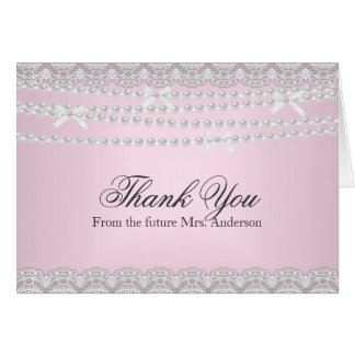 Pink Lace & Pearl Bridal Shower Thank You Card