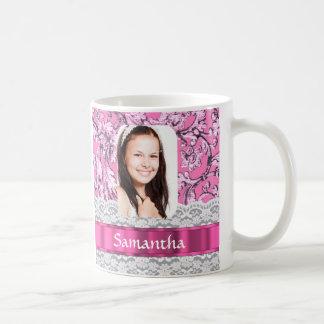 Pink lace personalized photo template coffee mug