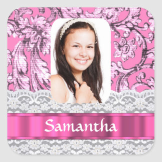 Pink lace personalized photo template square sticker