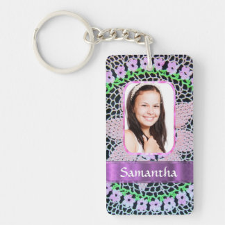 Pink lace photo background rectangle acrylic key chain
