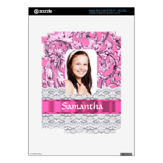 Pink lace photo template decals for iPad 3