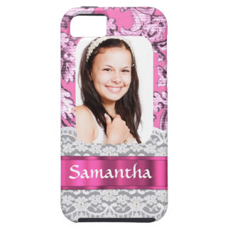 Pink lace photo template iPhone SE/5/5s case