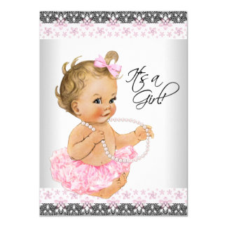 Pink Lace Pink Gray Baby Girl Shower Card